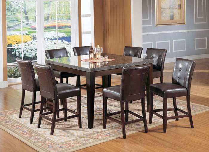 9 PCS BLACK MARBLE COUNTER HEIGHT TABLE & 8 COUNTER HEIGHT CHAIRS,  07059,17049