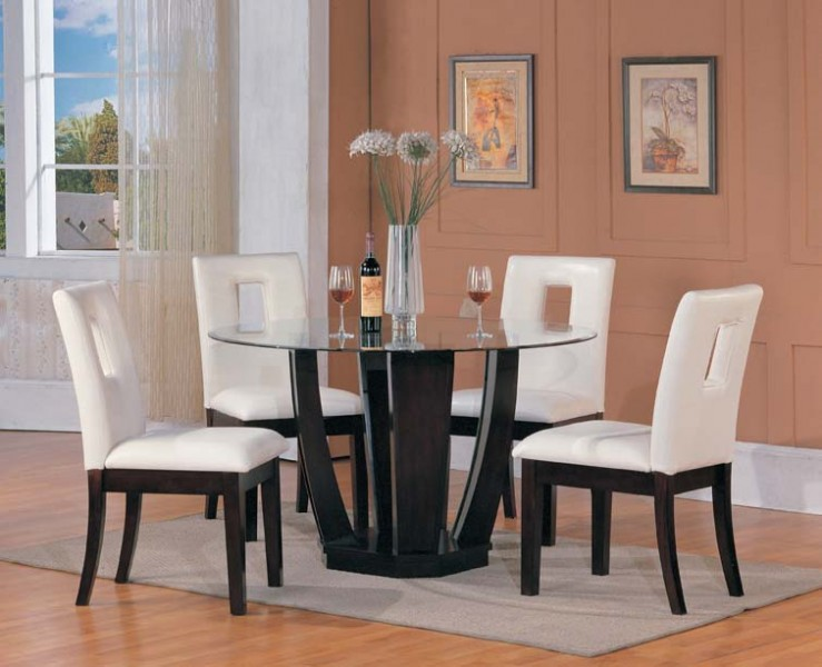 Home Dining Dining Set 5pcs Dinette Set Glass Round Table 4side Chairs