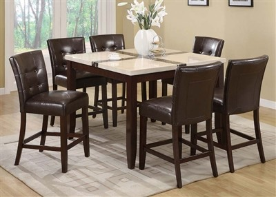 ACME, 7 PCS  DINETTE SET FAUX MARBLE TOP & WALNUT FINISH, 16555,07055