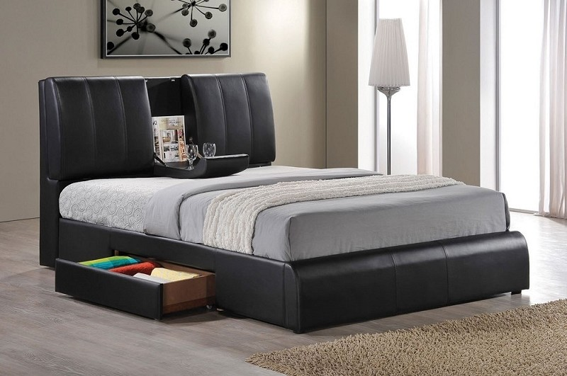 ACME, KOFI QUEEN BED  WITH STORAGE AND CUP HOLDER, 21270Q