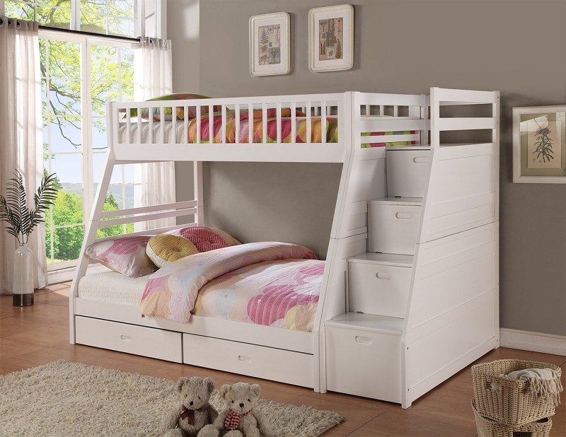 BELLA ESPRIT, TWIN/FULL BUNK BED STAIRCASE + DRAWERS, 45192WH
