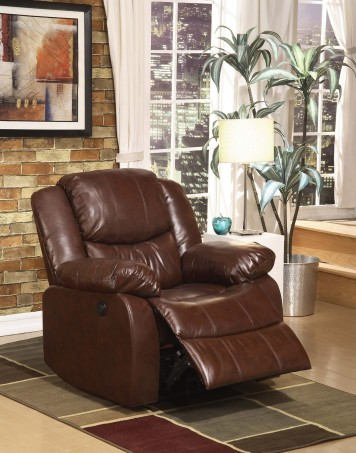 ACME POWER MOTION RECLINER BROWN BONDED LEATHER, 50202