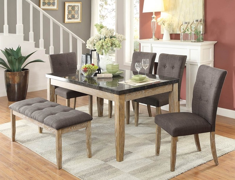 HOMELEGANCE HURON 6PCS DINETTE SET, TABLE + 4CHAIRS + BENCH, 5285