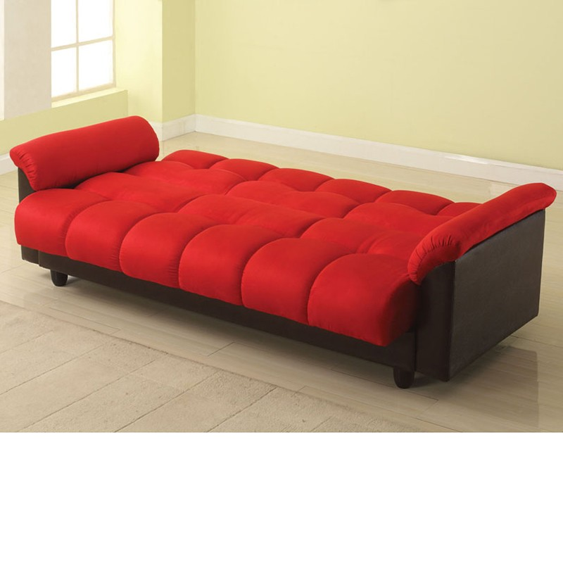 Adjustable Sofa Red Microfiber