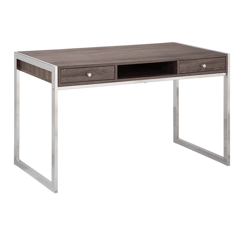 Asia Direct Desk Gray And Chrome Legs 6542