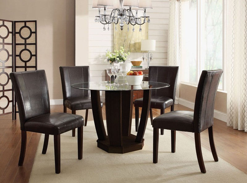 ACME, 5PCS DINETTE SET GLASS TOP TABLE + 4  SIDE CHAIRS, AC-10030,70619