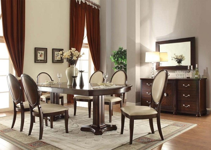 ACME, 7PCS ELEGANT FORMAL DINING SET, 71260,71262