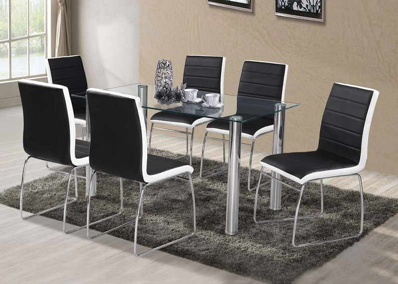 ACME, 7 PCS  DINETTE SET BLACK/WHITE. 71390/71392
