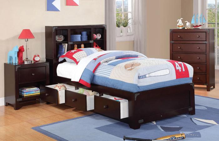 Asia Direct Twin Bed With Shelf Headboard 3 Drawers Espresso 8075