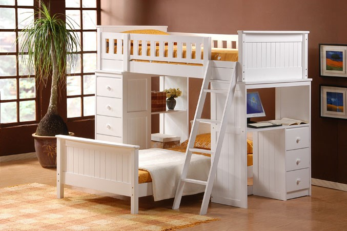 ASIA DIRECT TWIN/TWIN LOFT BED, 810-WH