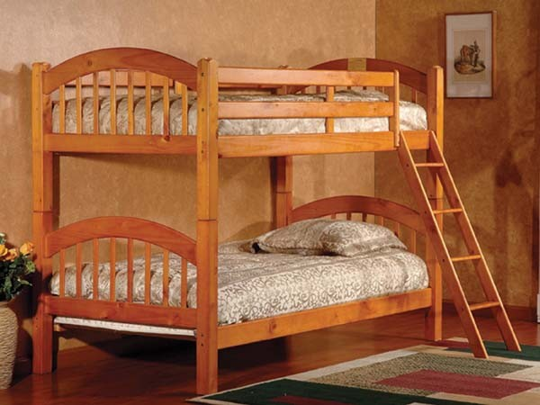 ASIA DIRECT TWIN TWIN BUNK BED HONEY OAK, 832