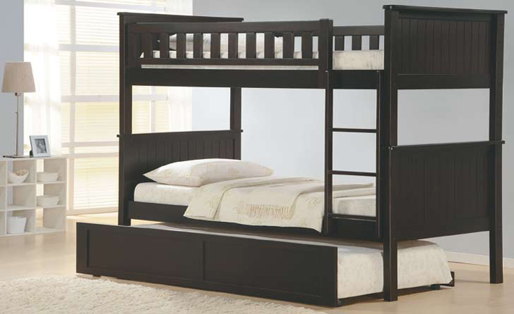 ASIA DIRECT, TWIN/TWIN BUNK BED WITH TRUNDLE, 833 BK
