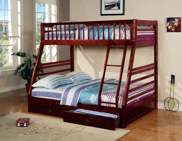 ASIA DIRECT TWIN FULL BUNK BED WITH 2 DRAWERS CHERRY FINISH