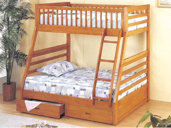 ASIA DIRECTTWIN FULL BUNK BED OAK WITH 2 DRAWERS, 835-OAK