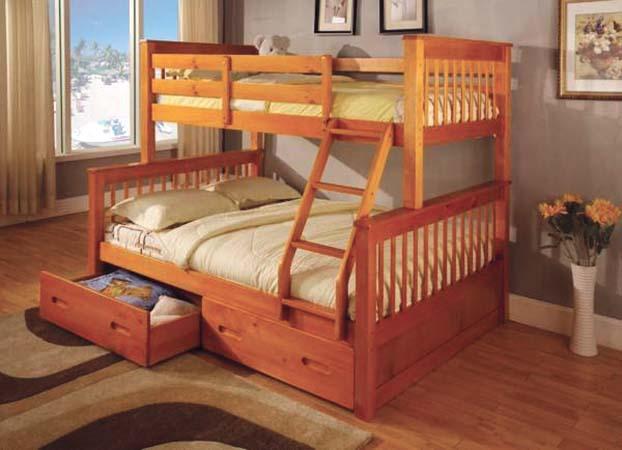 Asia Direct Twin Full Bunk Bed 838oak