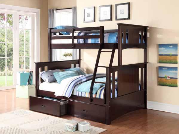 Asia Direct Twin Full Bunk Bed Espresso Finish Ad 8422