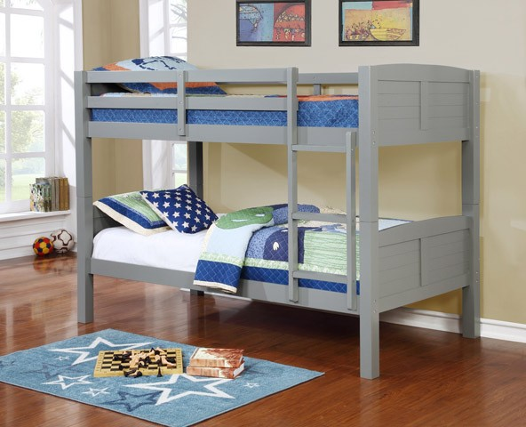 TWIN/TWIN BUNK BED GRAY (MATTRESS IS NOT INCLUDED