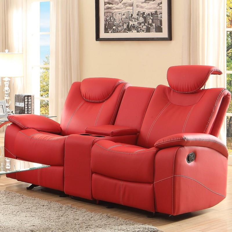 FURNITURE OF AMERICA TALBOT LOVESEAT WITH CENTER CONSOLE AND 2 RECLINERS, 8524RD