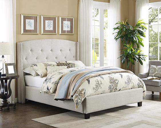 Queen Bed Frame Beige 8614 Q