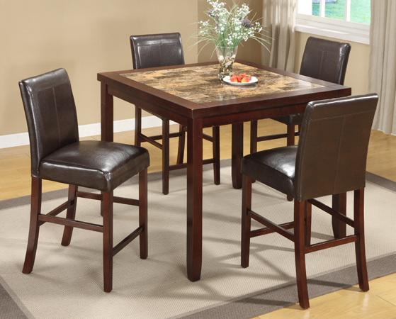 Asia Direct 5pcs Counter Height Table Set 4 Espresso Pu Chairs 9331