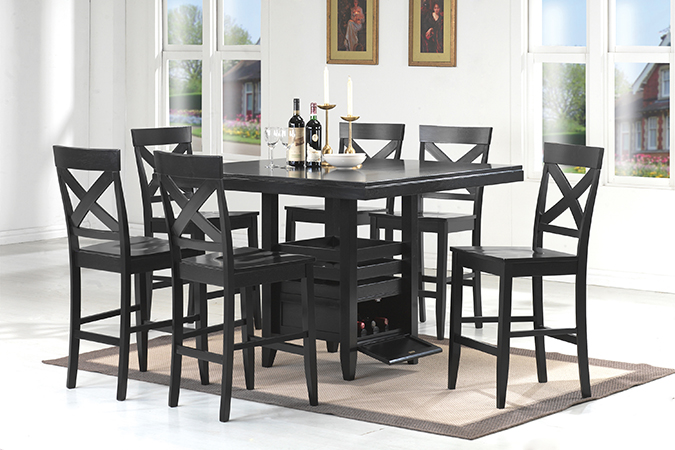 Asia Direct 7 Pcs Counter Table 6 Side Chair 9427