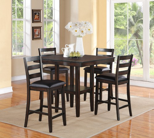 ASIA DIRECT, 5 PCS PUB TABLE WITH 4 CHAIRS ESPRESSO, 9426