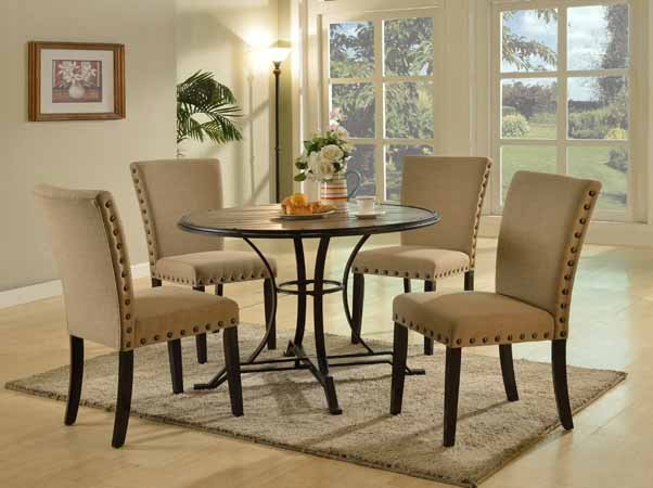 ASIA DIRECT, 5 PCS DINING TABLE TOP WOOD AND 4 SIDE CHAIRS IN BEIGE LINEN, 9701