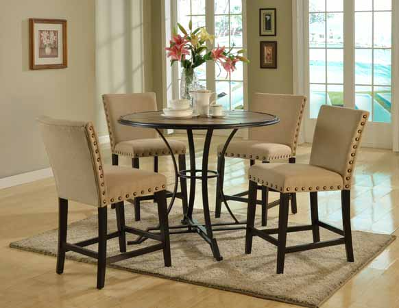 5 PCS COUNTER HEIGHT TABLE TOP WOOD AND 4 PUB CHAIRS IN BEIGE LINEN