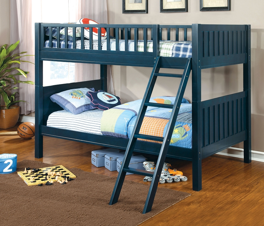 TWIN / TWIN BUNK BED  DARK BLUE