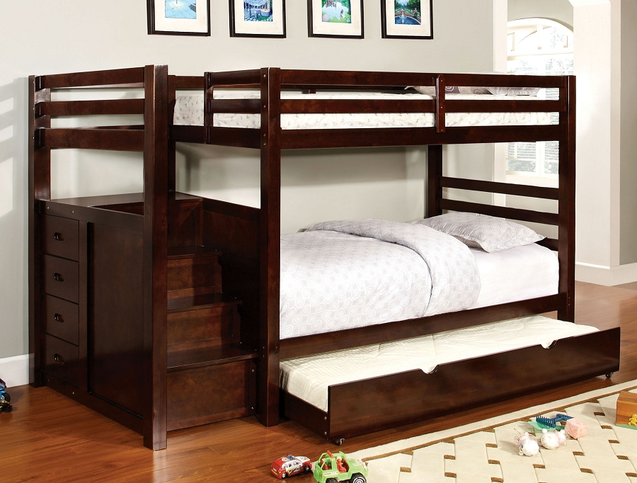 PINE RIDGE TWIN/TWIN BUNK BED + 4 BUILT IN DRAWERS