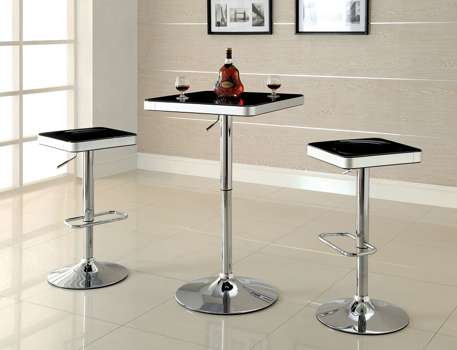 3PCS SET SWIVEL  BAR TABLE+2 SWIVEL STOOL BLACK TOP