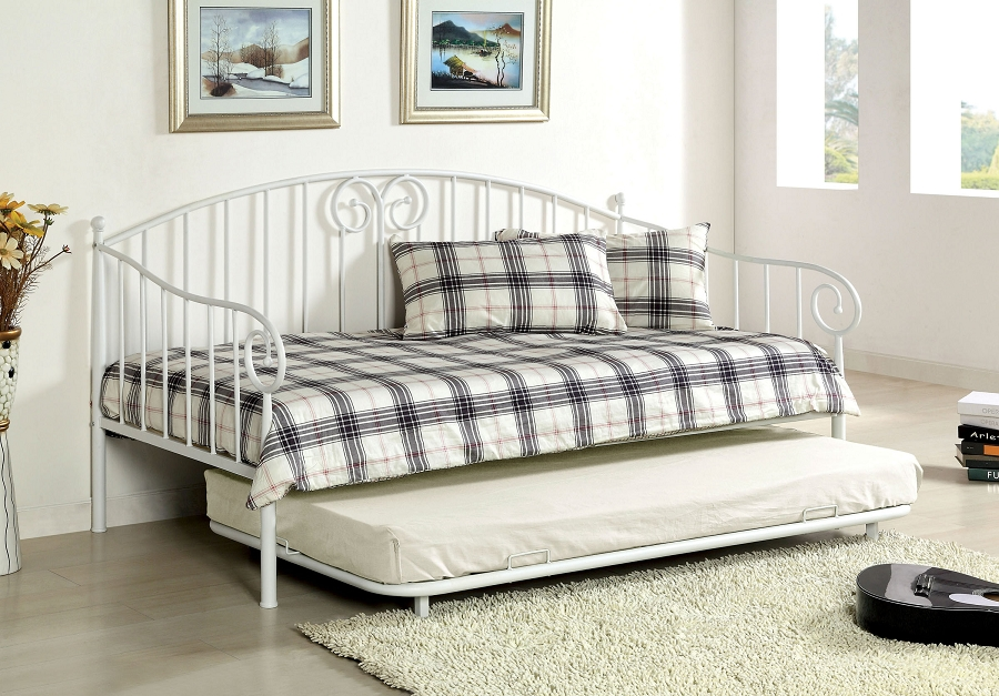 HAMDEN TWIN TWIN DAYBED WHITE METAL