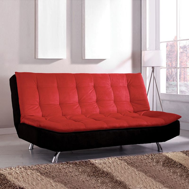 ADJUSTABLE FUTON SOFA RED & BLACK