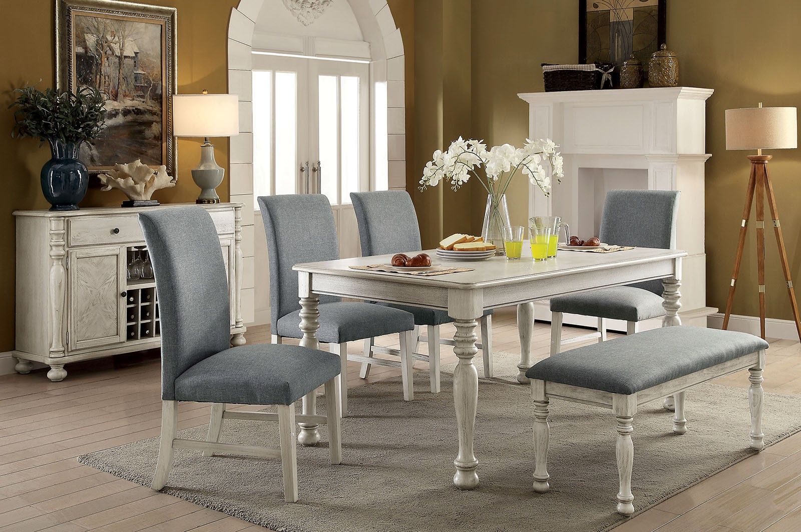 FURNITURE OF AMERICA, SIOBHAN 7PCS DINING SET TABLE + 6 SIDE CHAIRS,  CM3872WH