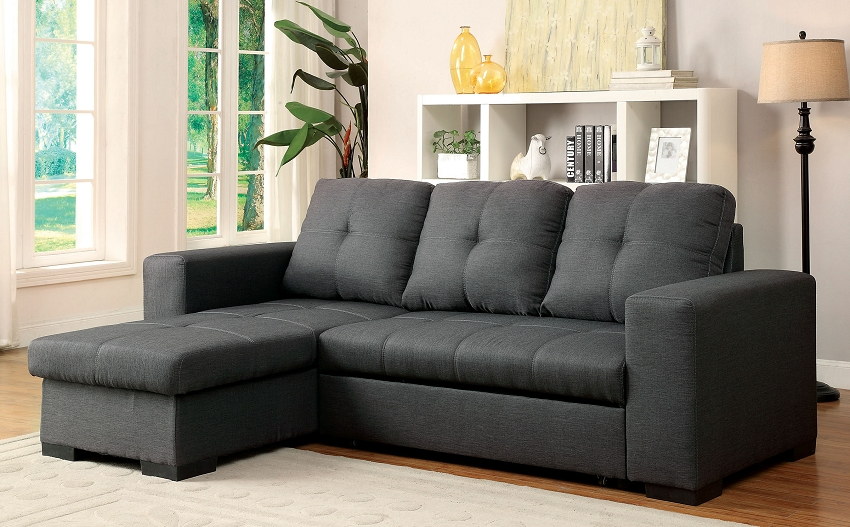 SECTIONAL W STORAGE CHAISE AND SOFA BED
