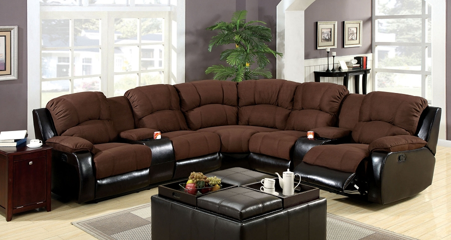 FURNITURE OF AMERICA, WOLCOTT  SECTIONAL WITH 2 RECLINERS, CM6557