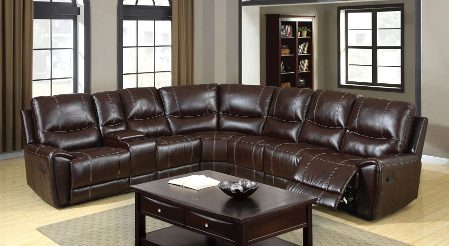 FURNITURE OF AMERICA, KEYSTONE SECTIONAL WITH 3  RECLINERS BROWN, CM6559