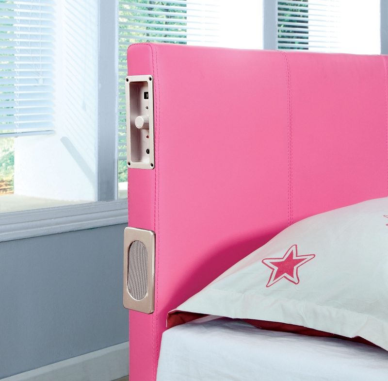 Queen Bed Pink With Bluetooth