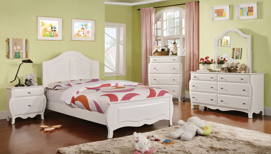 ROXANA TWIN BED WHITE FINISH