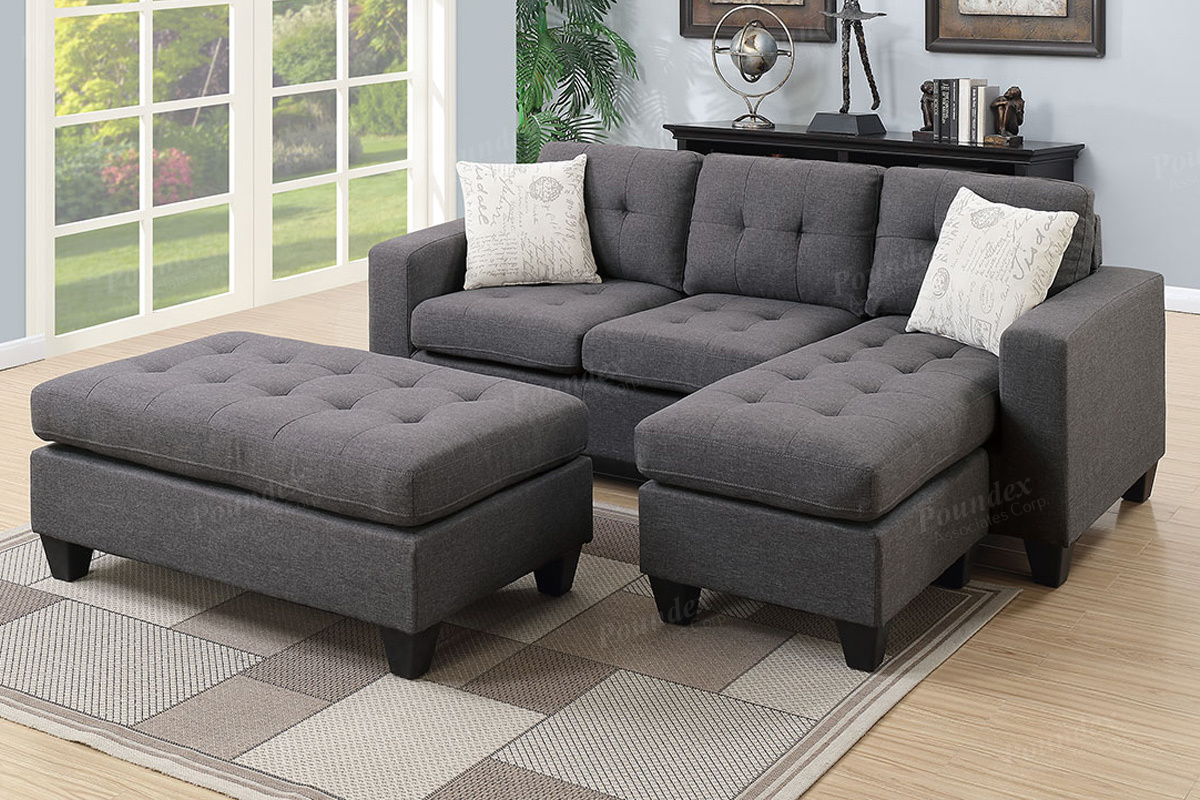 Poundex Reversible Sectional Gray F6920