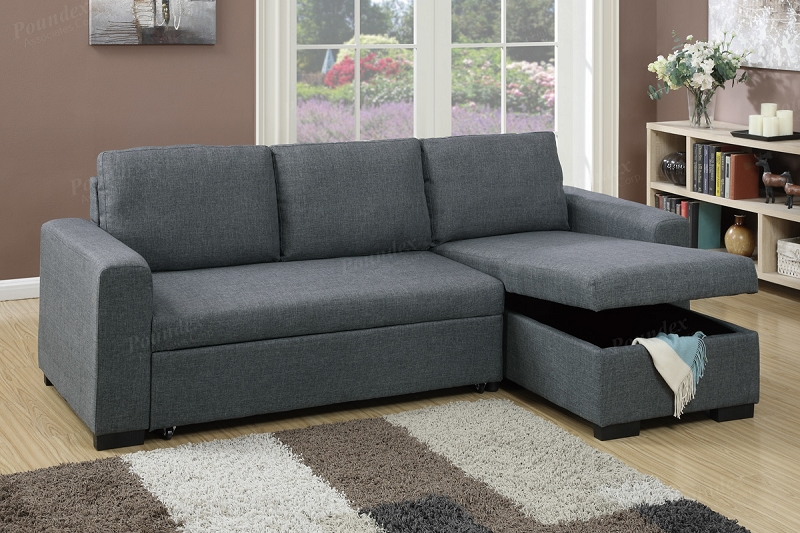 Poundex 2 Pcs Pull Out Sofa Sleeper With Storage F6931
