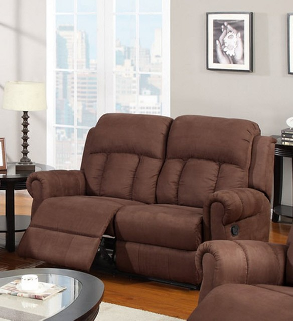 MOTION LOVE SEAT W/2 RECLINERS, CHOCOLATE MICROFIBER