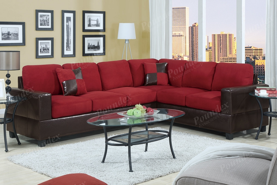 POUNDEX 2 PCS SECTIONAL SOFA WITH 2 ACCENT PILLOWS, F7638