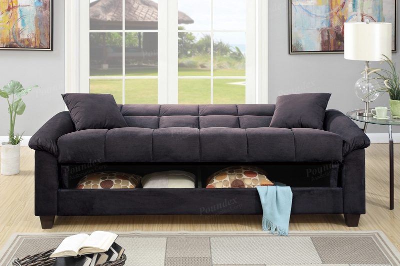 Poundex Adjustable Sofa W Storage F7888