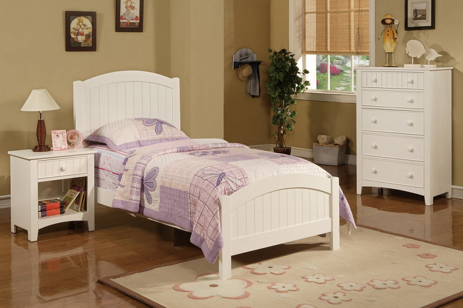 POUNDEX TWIN BED WHITE SOLID WOOD, F9049