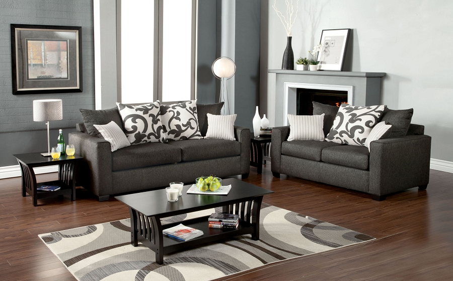COLEBROOK 2 PCS SOFA SET CHARCOAL