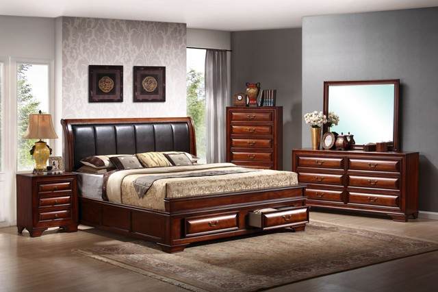 BEDROOM SET QUEEN BED+DRESSER+MIRROR+1NIGHT STAND
