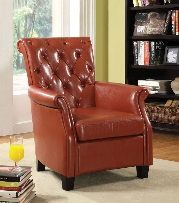 FURNITURE OF AMERICA, RED ACCENT CHAIR, CM-AC6350