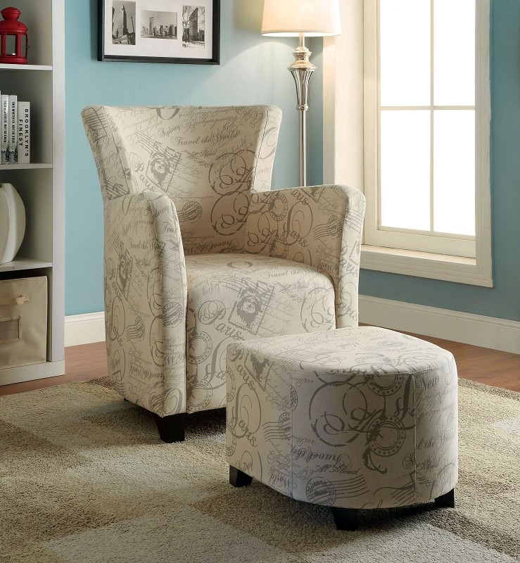 FURNITURE OF AMERICA, ACCENT CHAIR+OTTOMAN WORLD TRAVEL, CM-AC6710WT