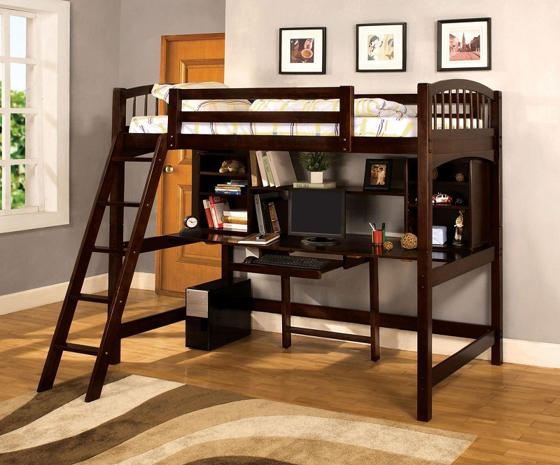 TWIN LOFT BED WITH WORKSTATION ESPRESSO.